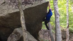 Rock Climbing Photo: Grabbing the point before positioning for the top ...