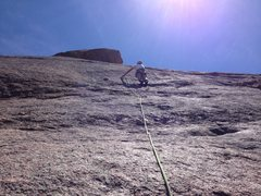 Rock Climbing Photo: On the lower half of the route.