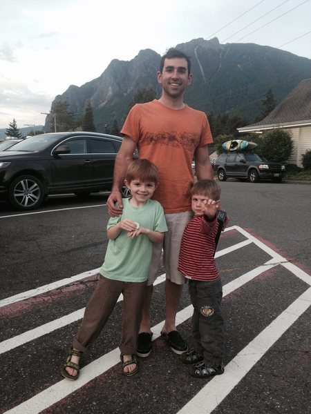 Me and my boys, Mason and Daniel, just leaving Little Si from a great day of climbing,