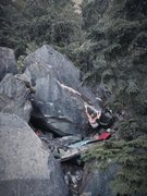 Rock Climbing Photo: Trevor on the opening move.