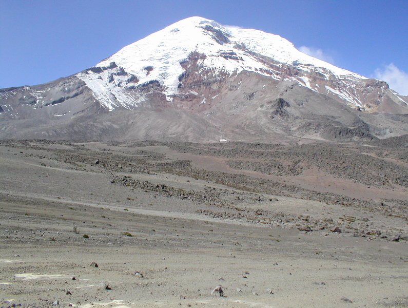 Rock Climbing Photo: Snow capped Chimborazo, with Carrel Hut and Whympe...