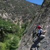 Five year old Wesley Fienup climbs the first pitch of Half Ascent, at Sespe Gorge.