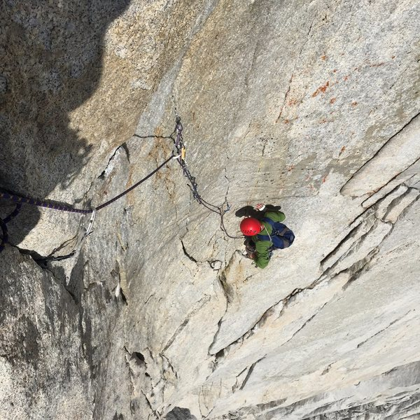 Looking down from just past the crux gives you a true feel for how steep this route is.