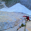 Jason coming up the crux of pitch 1 on a surprisingly cold morning<br> <br> June 2014