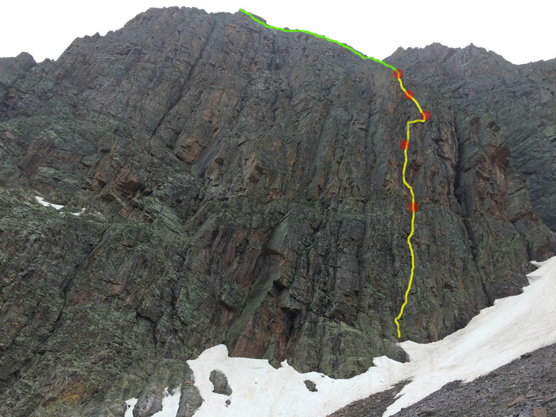 The line, foreshortened.  Yellow is climbing, red are belays, and green is simulclimbing.