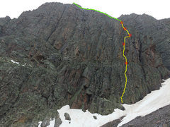 Rock Climbing Photo: The line, foreshortened.  Yellow is climbing, red ...