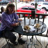 Ann Meyer about to dig into a Brownie Delight on the Alpine Inn's deck in Hill City.