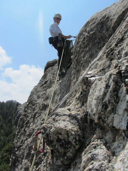Rock Climbing Photo: Use a double length sling on the last bolt while l...