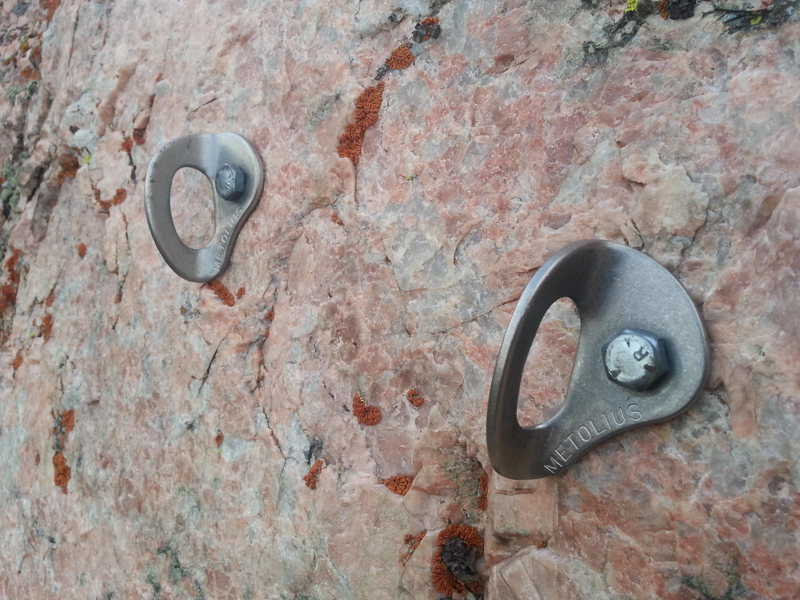 Close up of anchor bolts.