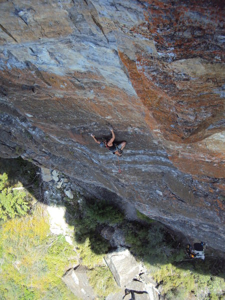 Granite RockofAges on lead at Somers Cliffs, Montana