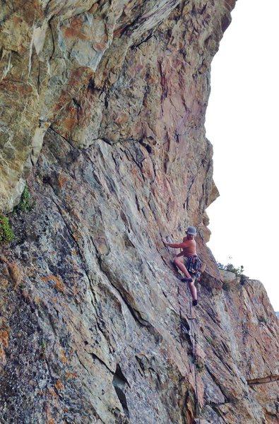 Rock Climbing Photo: Zach a third up Tangent.