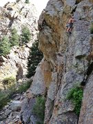 Rock Climbing Photo: Mid-way up LOP.  The overhanging crack left and sl...