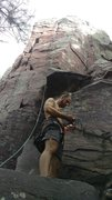 Rock Climbing Photo: Walnutz tying in for a fun climb up Brinton's Crac...