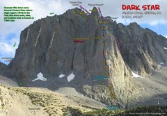 Rock Climbing Photo: Route Overlay for Dark Star on Temple Crag