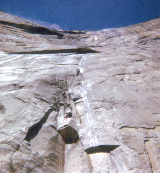 Rock Climbing Photo: NA Wall, 1974, Notice plumes of water far up and w...