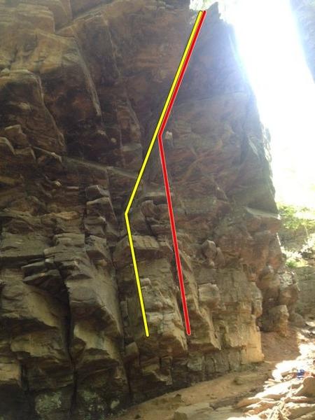 Rock Climbing Photo: Rumors Roof(Yellow) and Rumors Right(Red)