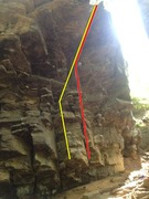 Rock Climbing Photo: Rumors Roof(Yellow) and Rumors Right(Red)