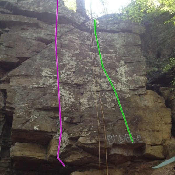 Rock Climbing Photo: Beginner's Route(Green) and Chode Route(Purple)