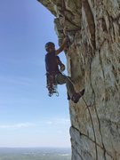 Rock Climbing Photo: Tom, more or less finished with the traverse and a...
