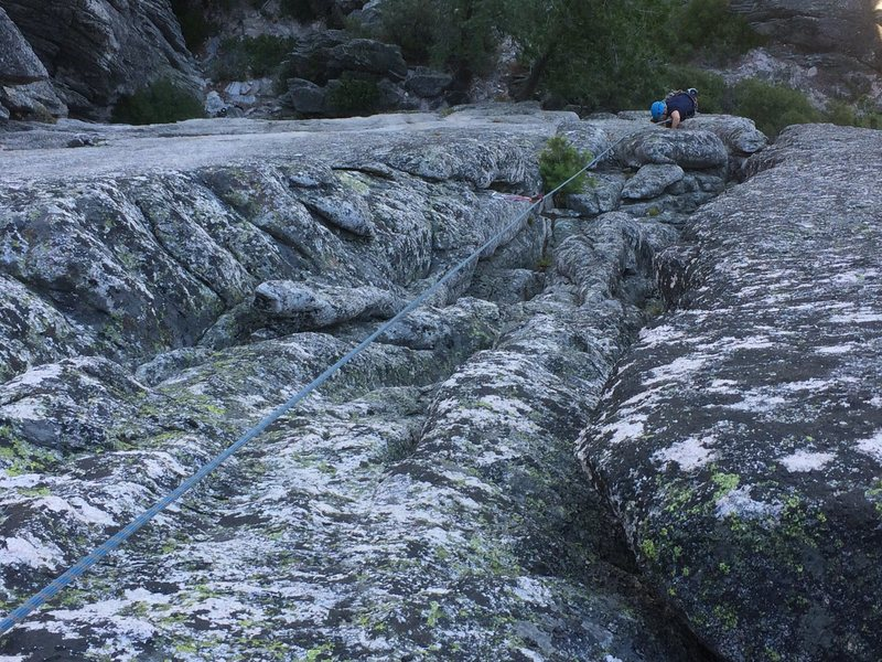 Justin on the tricky crux middle section.
