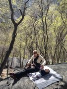 Rock Climbing Photo: Heather and Theo hanging out at the Gate Boulder i...