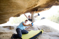 Rock Climbing Photo: With a careful spot from Mom, five year old Wesley...