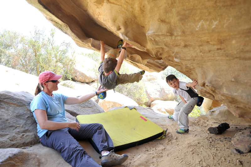 Rock Climbing Photo: Wesley gives his older brother Bryson the critical...