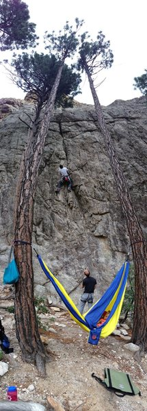 Nap time at the crag. Jaspur on rp. Jon on belay.