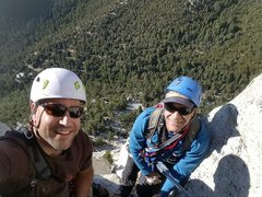 Rock Climbing Photo: Chad and Dante at belay station 4 on The Long Clim...