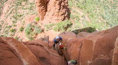 Rock Climbing Photo: Looking down at the second pitch belay stance, pre...