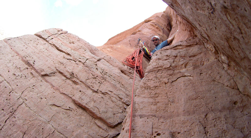 Coming up to the first belay stance.