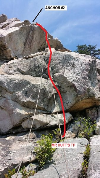 Rock Climbing Photo: red line shows the route for MR HUTT'S TP