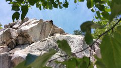 Rock Climbing Photo: Trying out a new route. Pretty easy climb, except ...