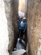 Rock Climbing Photo: pitch 2 tunnel, climber just down climbed the choc...
