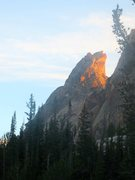 Rock Climbing Photo: alpenglow on the SE face, as seen from camp at fea...