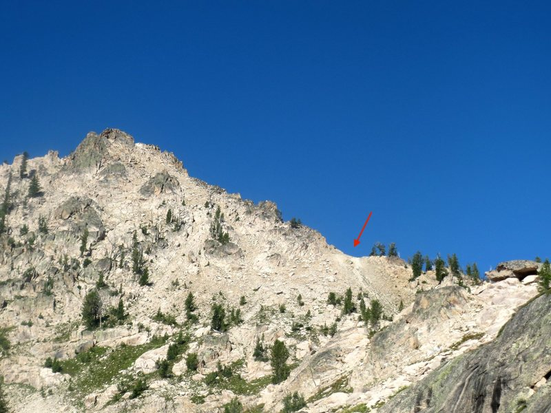 Pt. 9769 on the trail-less portion of the approach above alpine lake.  gain the climbers trail at the sandy pass marked in red