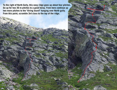 Route with four pitches. <br />I found this photo on the web, but cannot find the source anymore. <br /> <br />
