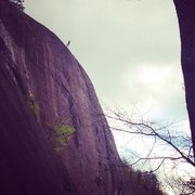 Rock Climbing Photo: Tom at the top of the headwall -- one of the coole...