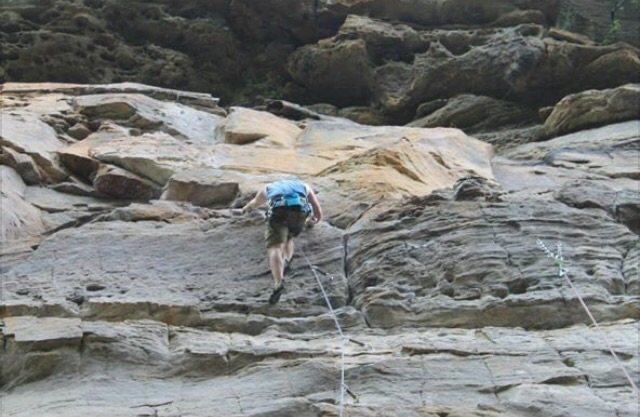 Rock Climbing Photo: Leading at the RRG