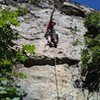 Pete on the first ascent of Moss Lords of the Wasatch.   Reggae music at the belay and clean rock under foot.  Good times.