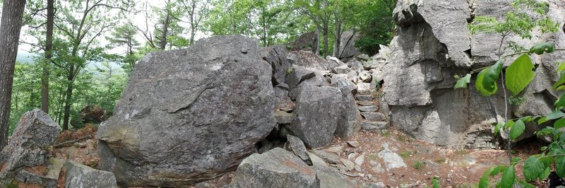 The central area of The Spot.  Burried Treasure boulder on left, Millard boulder on right.