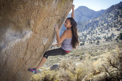 Rock Climbing Photo: Natalie Duran finishing up Go Granny Go on a warm ...