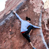 Natalie Duran wing expanded to the max on Pork Chop, a beautiful climb out in Kraft Boulders.