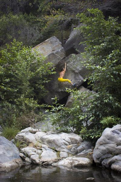 Natalie Duran enjoying a beautiful summer day out in Malibu Tunnel Boulders.