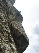 Rock Climbing Photo: At the crux on the FA, Photo: Brian Ways