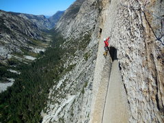 Rock Climbing Photo: Brian begins to follow the 9th pitch - the key to ...