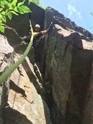 Rock Climbing Photo: Navigating the roof section on the FA of Sammy-Jo ...