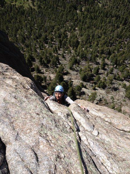Rock Climbing Photo: Mona finishing the 3rd pitch.