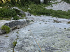 Rock Climbing Photo: Looking down the Harem Route 1st pitch dihedral