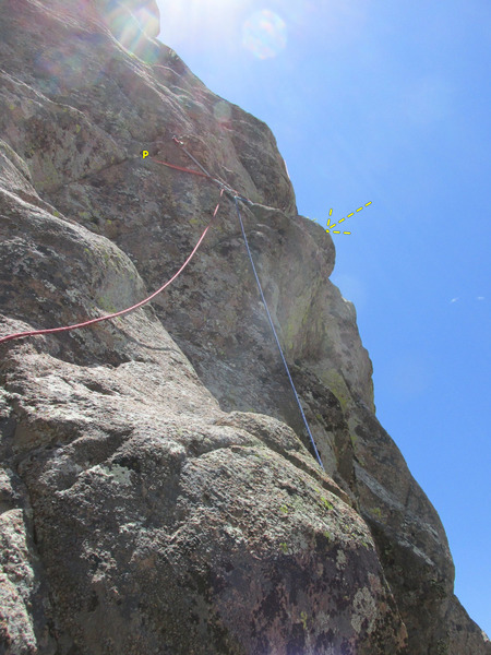 "Rock Climbing Photo: Start of Pitch 4. The ""bulge"" in the des..."
